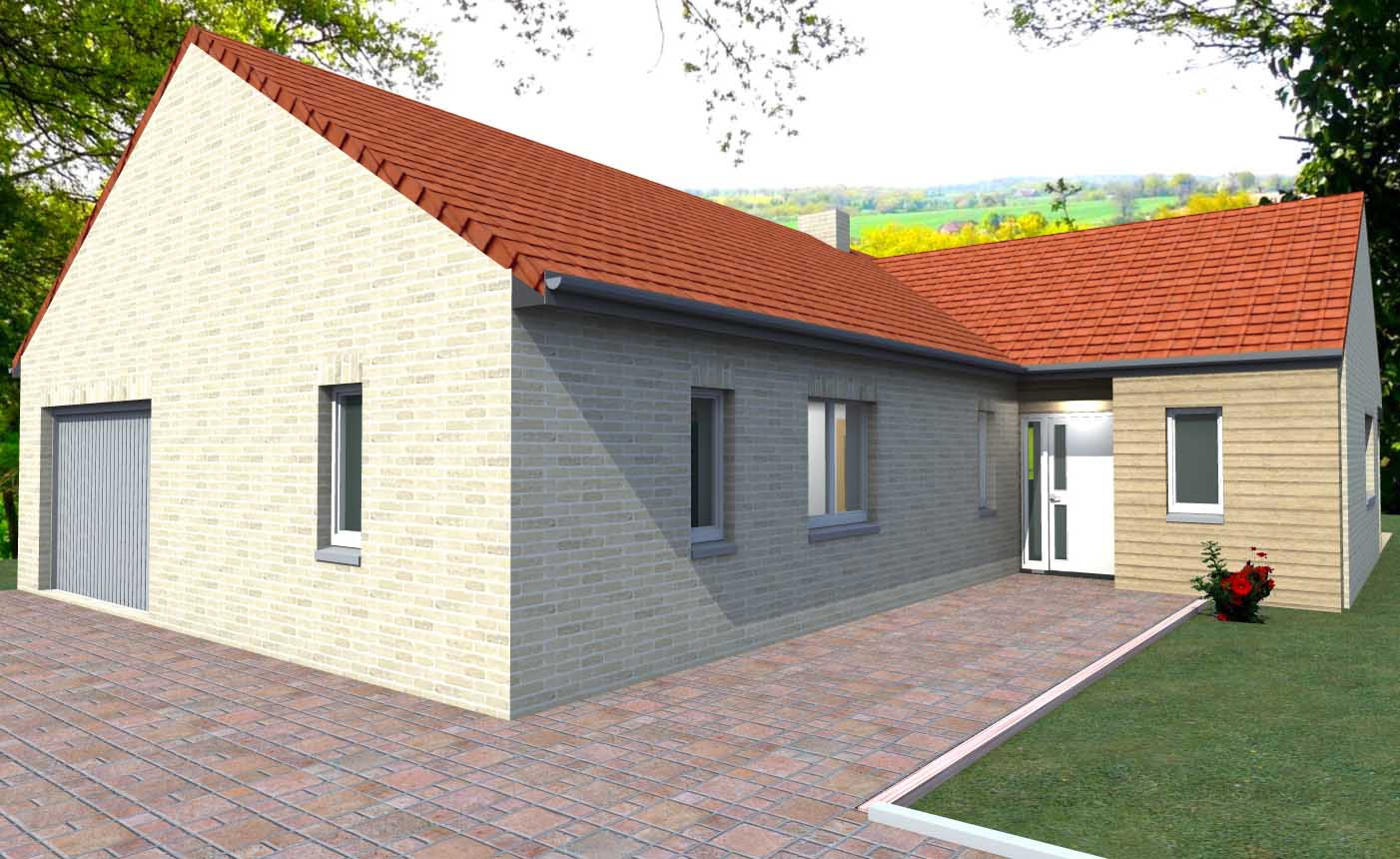 Couleur maison construction maison contemporaine de plain for Plan de construction maison plain pied