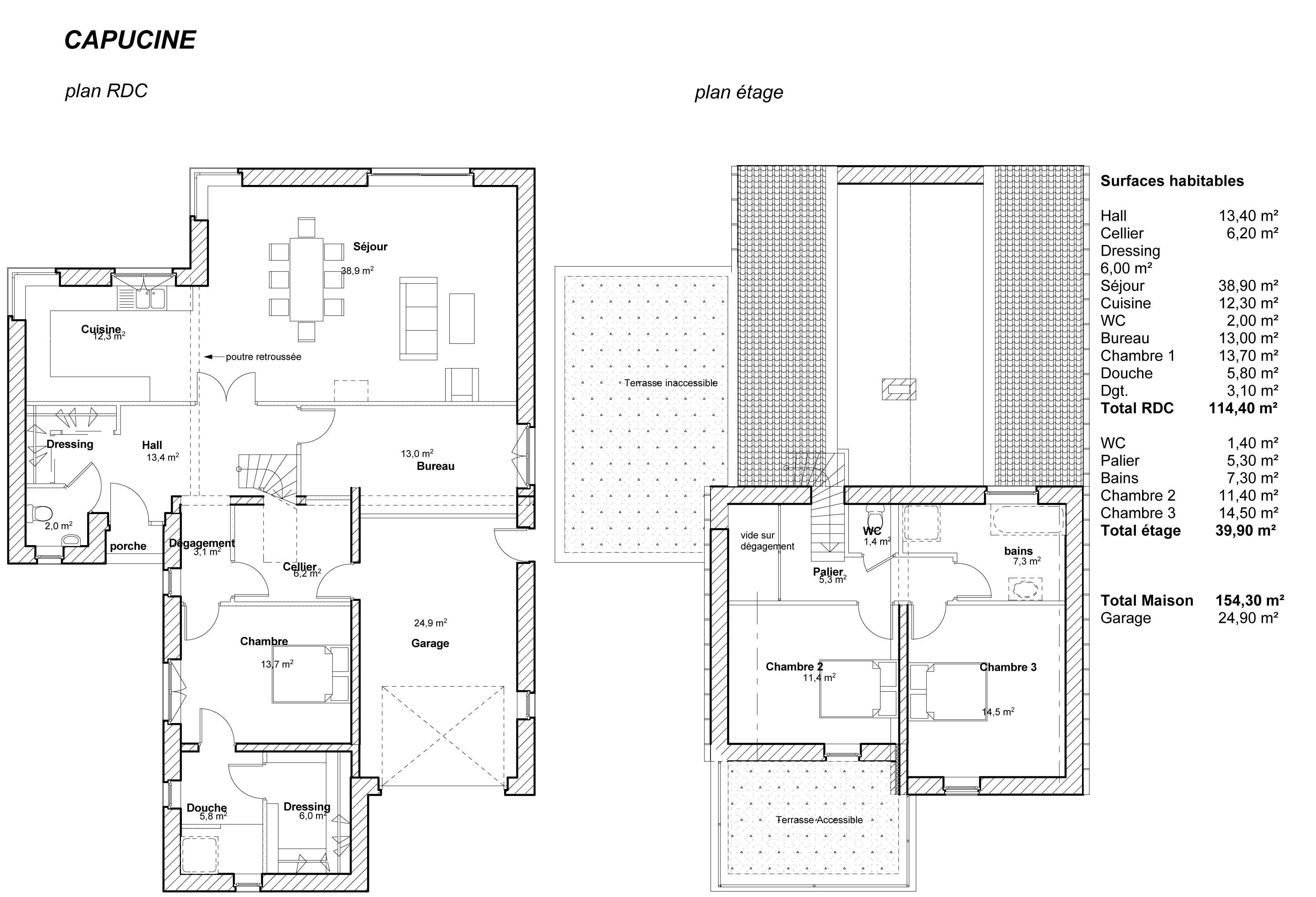 modle capucine plan de maison capucine - Modele De Plan De Construction Maison Gratuit