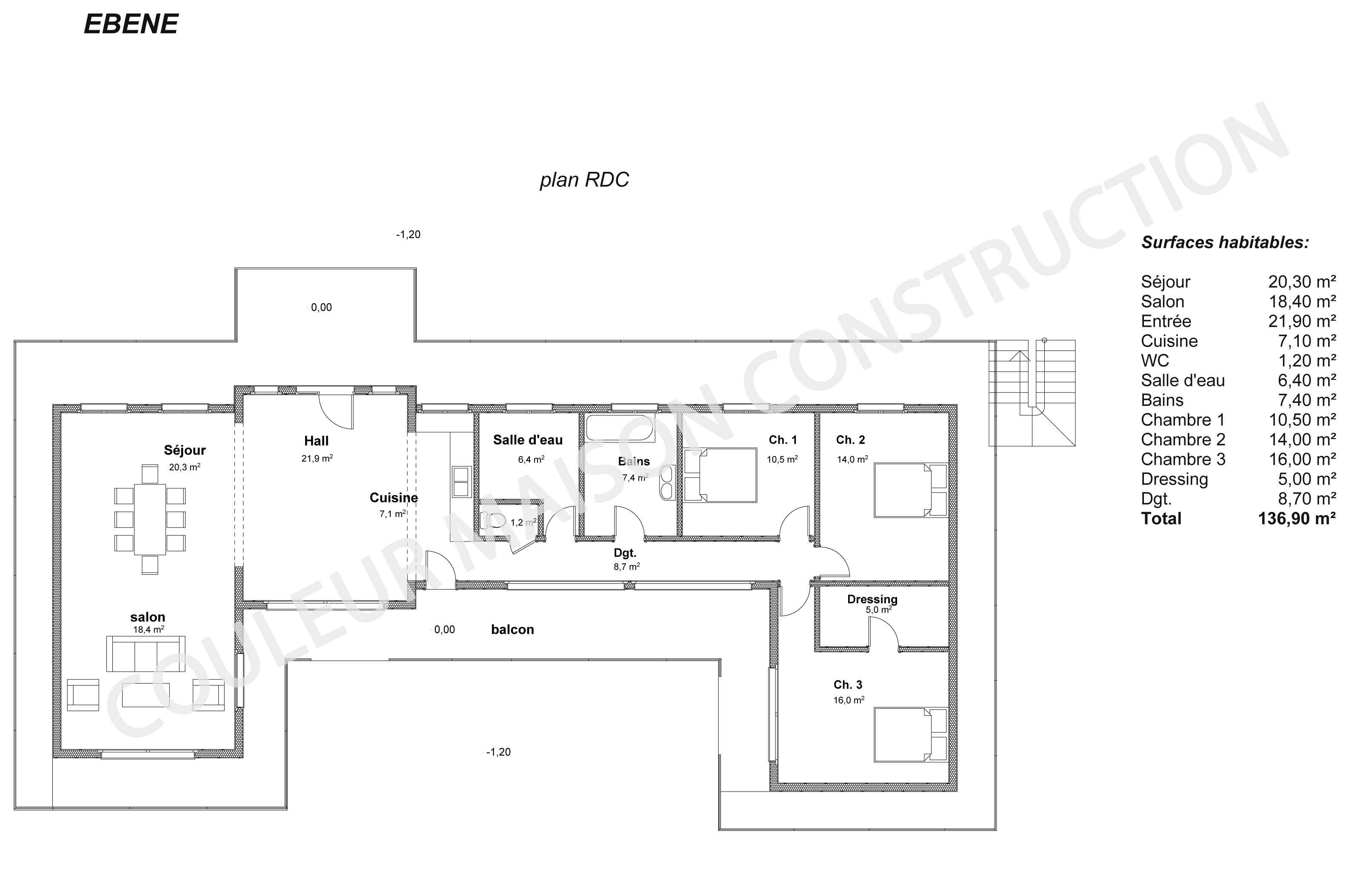 Plan de maison au format pdf for Couleur maison construction