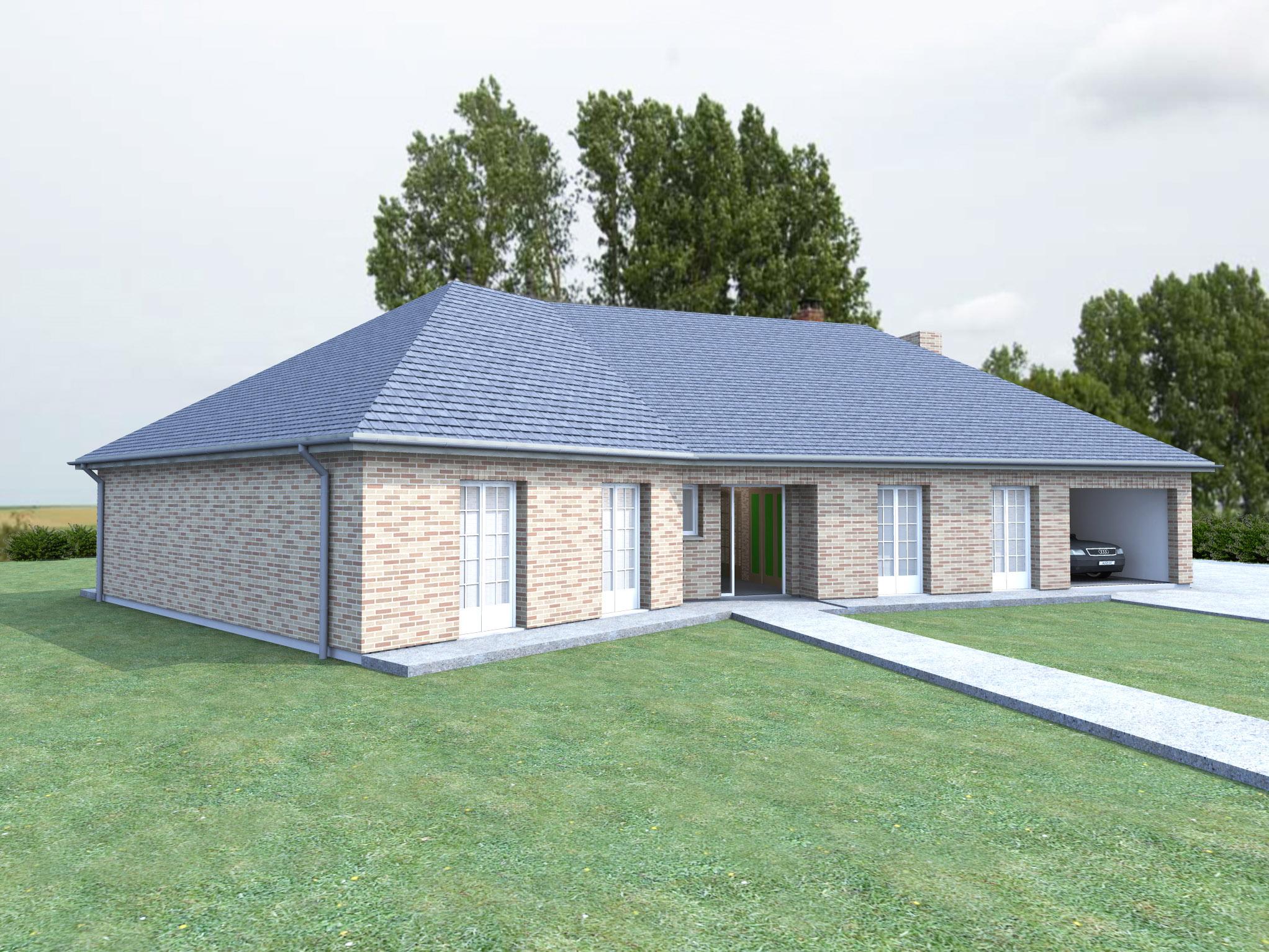 modele de maison plain pied avec garage ventana blog. Black Bedroom Furniture Sets. Home Design Ideas